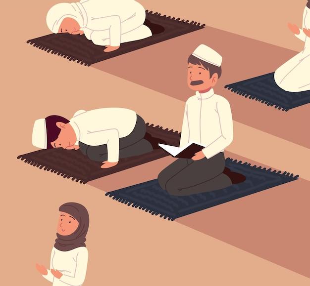 Muçulmanos rezando em uma mesquita