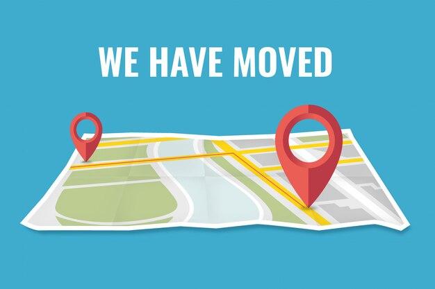 Mudamos a navegação no mapa de endereços alterados, ilustração plana