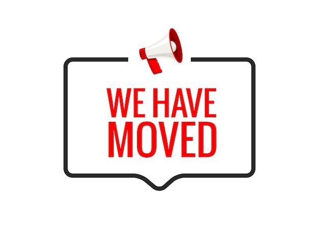 Mudamos a nova localização do ícone de endereço do escritório. mova o conceito de alto-falante de anúncio de localização de mudança.