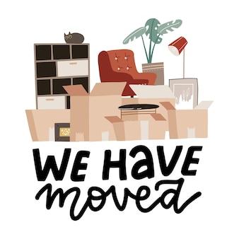 Mudamos o conceito com pilha de caixas de papel, coisas para casa em caixa de papelão com texto de letras, mudamos
