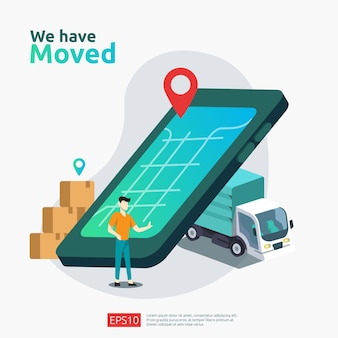 Mudamos o conceito de ilustração vetorial. nova loja de negócios de anúncio de localização, endereço residencial ou escritório de mudança para modelo de página de destino, aplicativo móvel, pôster, banner, folheto, interface do usuário, web e plano de fundo