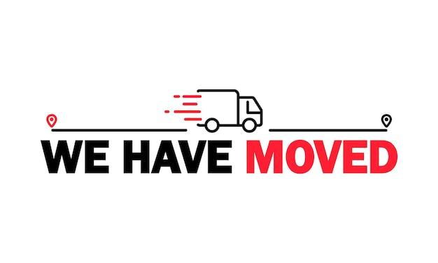 Mudamos o ícone. relocação. endereço alterado. guia gps. geotag. vetor em fundo branco isolado. eps 10.