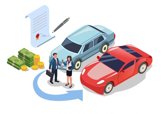 Mudança de carro ou compra, pagando dinheiro para compra