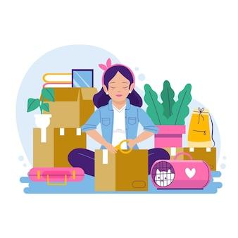 Mudança de casa e mulher fazendo pacotes