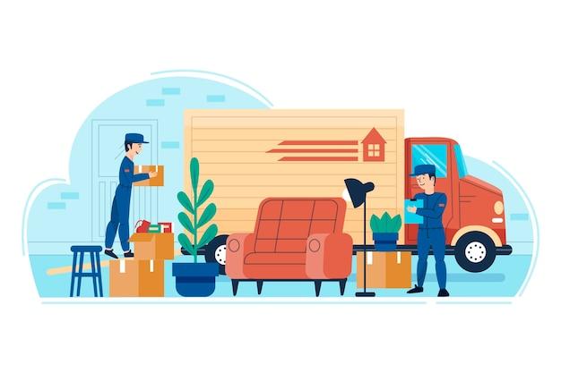 Mudança de casa e pessoas carregando móveis