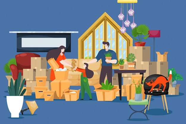Mudança de casa família pessoas, ilustração de caixas de embalagem. carregando coisas e roupas para uma nova casa. personagem de casal
