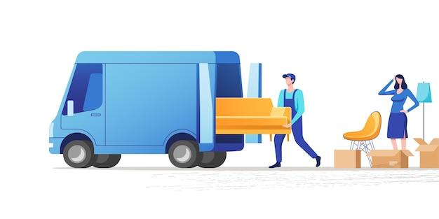 Mudança de casa. mulher fazendo as malas para se mudar para uma casa ou apartamento novo. ilustração.
