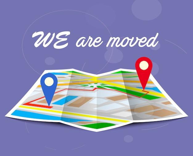 Mudança de endereço, novo local no mapa de navegação.
