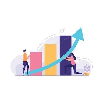 Mudança de ilustração de direção de negócios