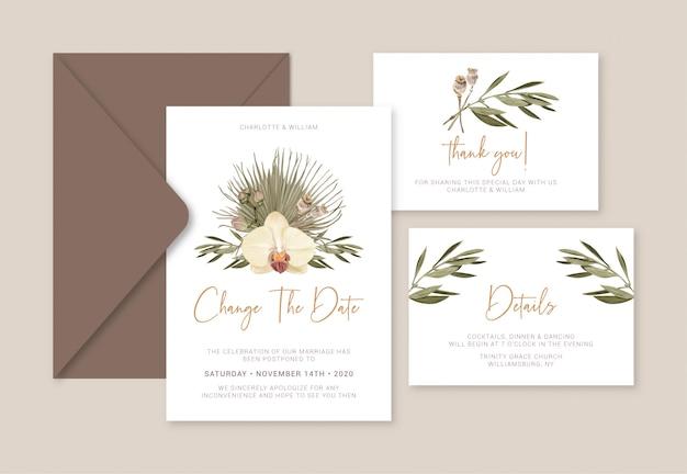 Mudança do cartão de casamento de boho a data