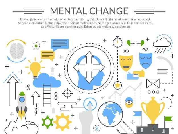 Mudança mental conceito composição plana