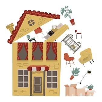 Mudando para um novo conceito de lugar, casa amarela com alguns móveis voa sob o telhado aberto para caixas de papelão