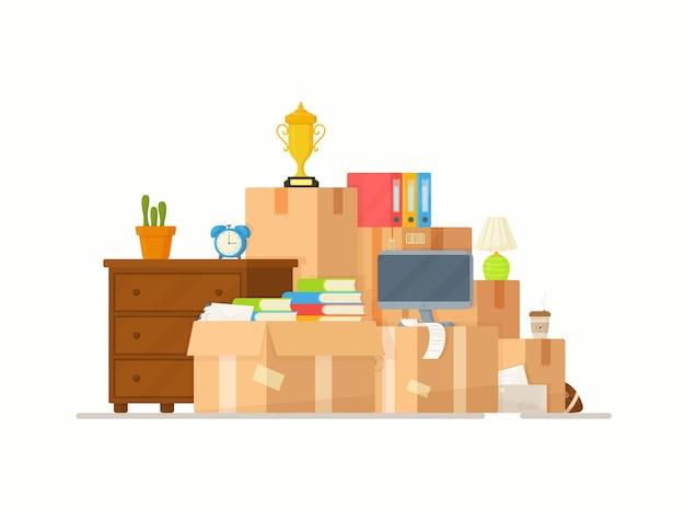 Mudando-se para uma nova casa, a família mudou-se para uma nova casa, caixas de papelão de papel