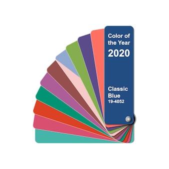 Mudar a cor do ano para 2020, guia de livros de amostra de amostra de paleta de cores de tendência classic blue