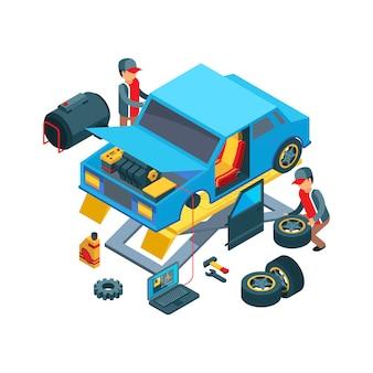 Mude as rodas do carro. técnicos que trabalham no serviço mecânico de auto serviço, consertando o carro