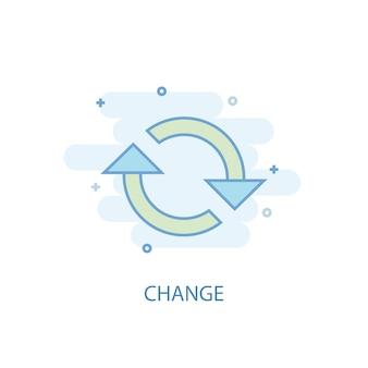 Mude o conceito de linha. ícone de linha simples, ilustração colorida. alterar design plano de símbolo. pode ser usado para ui / ux
