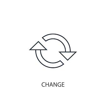 Mude o ícone da linha de conceito. ilustração de elemento simples. mudar o design do símbolo do esboço do conceito. pode ser usado para ui / ux da web e móvel