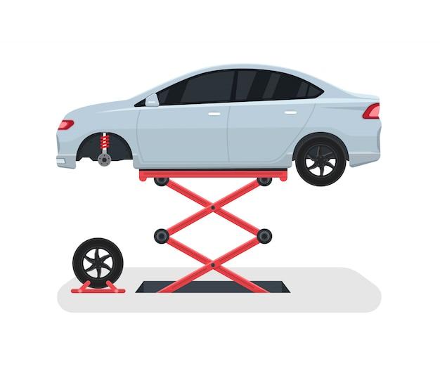 Mude uma roda em um carro. reparação de pneus com elevador. ilustração vetorial