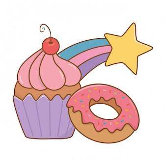 Muffin com donut e estrela cadente