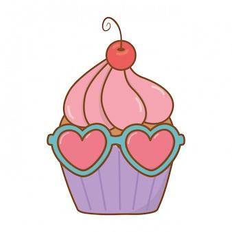 Muffin com óculos de sol de coração