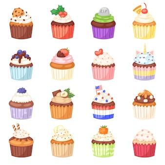 Muffin de cupcake e sobremesa de bolo doce com bagas ou conjunto de ilustração de doces endurecidos de confeitaria com creme e doces na padaria para festa de aniversário em fundo branco