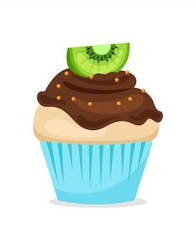 Muffin ou cupcake doce com cobertura de chocolate e kiwi por cima. sobremesa de vetor