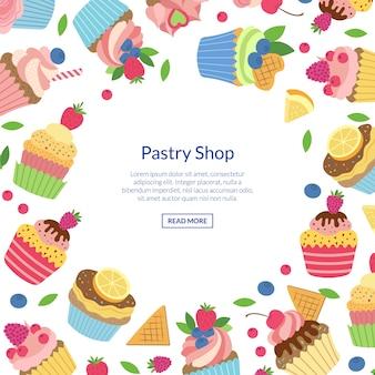 Muffins de bonito dos desenhos animados ou cupcakes com ilustração copyspace