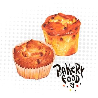 Muffins de cozimento de mão desenhada