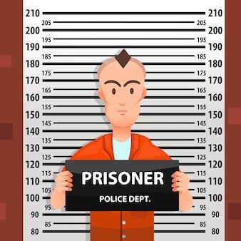 Mugshot criminal com gráfico de altura atrás