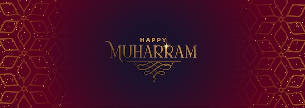 Muharram feliz banner bonito no estilo islâmico