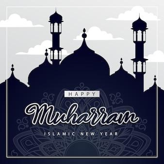 Muharram feliz, celebração islâmica de ano novo com silhueta de mesquita