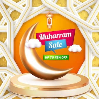 Muharram venda modelo de banner 3d panfleto de mídia social com pódio de luxo