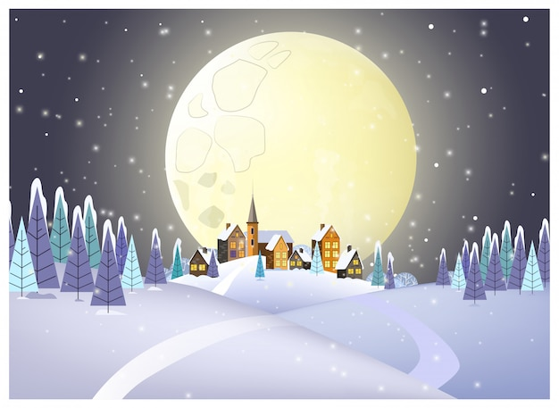 Muitas casas contra ilustração de lua cheia