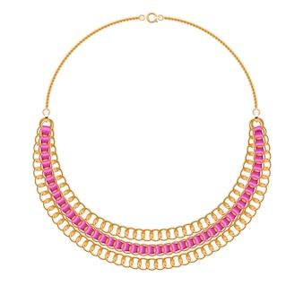Muitas correntes. colar metálico dourado com fitas rosa. acessório de moda pessoal.