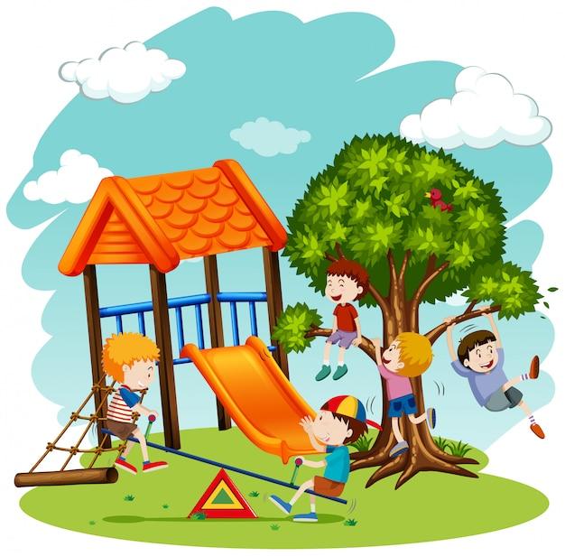 Muitas crianças brincando no playground