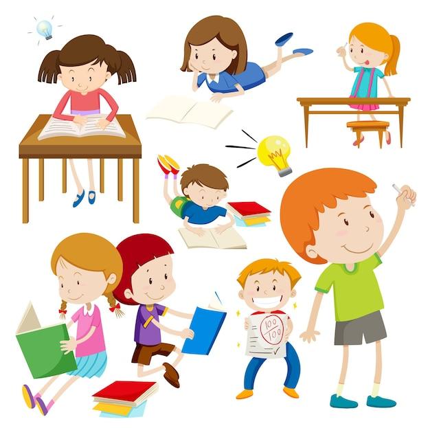 Muitas crianças com cara feliz fazendo coisas diferentes