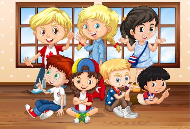Muitas crianças em sala de aula