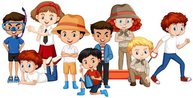 Muitas crianças felizes em um fundo isolado