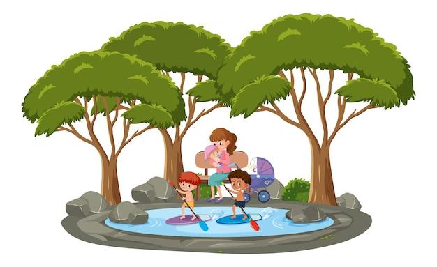 Muitas crianças nadando na lagoa com muitas árvores