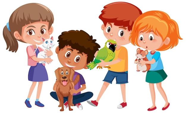 Muitas crianças segurando seus personagens de desenho animado de animais de estimação no fundo branco