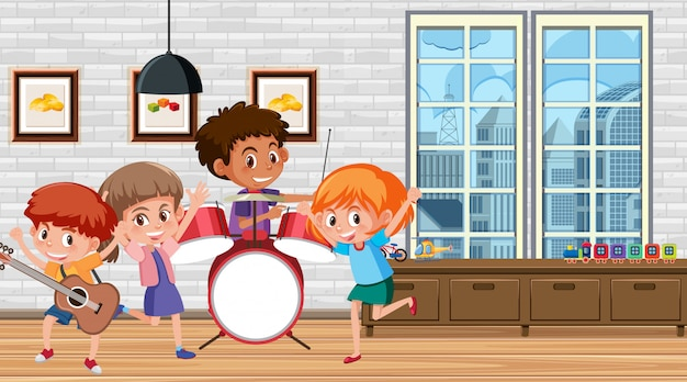 Muitas crianças tocando música na sala