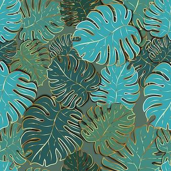Muitas folhas de palmeira verdes fofas com contorno dourado, padrão moderno sem emenda
