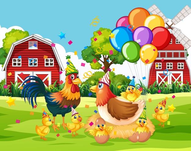 Muitas galinhas no tema da festa no fundo da fazenda