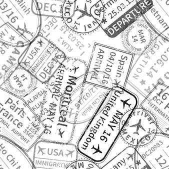 Muitas impressões de carimbos de visto internacionais em preto