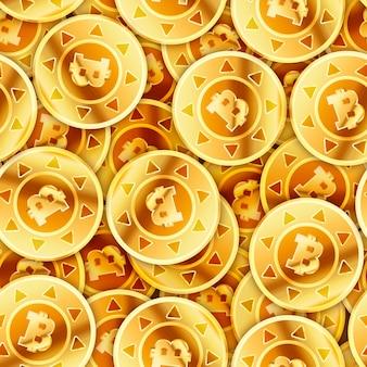 Muitas moedas de ouro brilhantes brilhantes com sinal de bitcoin, padrão sem emenda