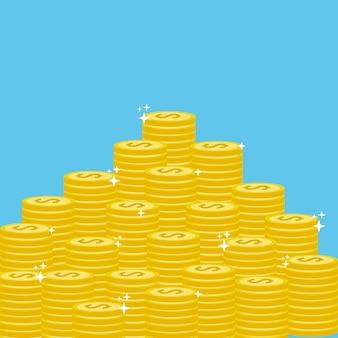 Muitas moedas de ouro dinheiro salvar