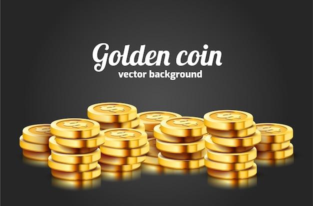 Muitas moedas em fundo preto.