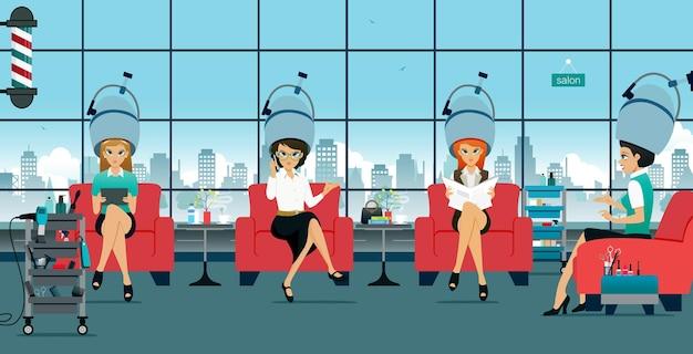 Muitas mulheres estão sentadas em um salão de beleza passando vapor nos cabelos.