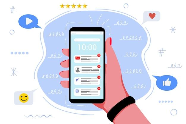 Muitas notificações no celular. mensagens de caos de distrações online tecnologia de notificações