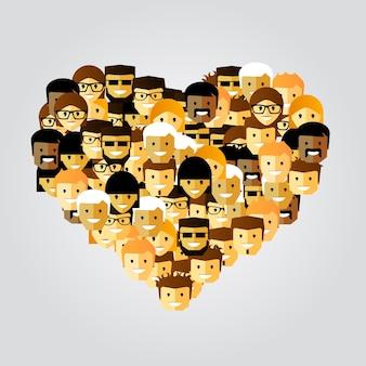 Muitas pessoas em forma de coração. ilustração vetorial